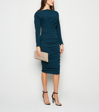New Look AX Paris Ruched Slash Neck Midi Dress
