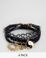 Asos Pack of 4 Tattoo and Charm Layering Bracelets