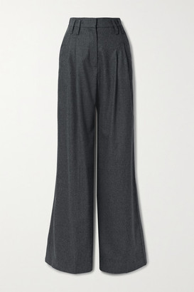 Racil Maxime Wool-blend Wide-leg Pants - Anthracite