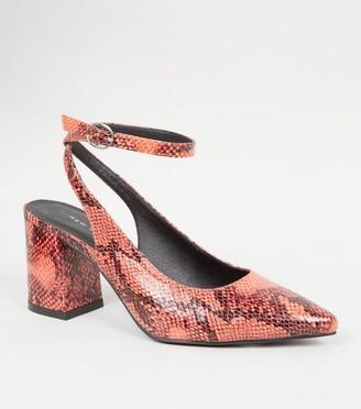 New Look Faux Snake Slingback Block Heels