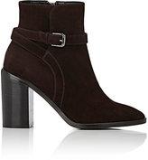Barneys New York Women's Wraparound-Strap Suede Ankle Boots-DARK BROWN