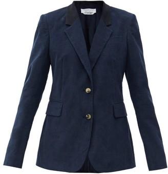 Gabriela Hearst Sophie Suede-collar Cotton-needlecord Suit Jacket - Navy