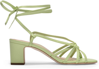 Loeffler Randall Libby Knotted Sandals In Green Leather