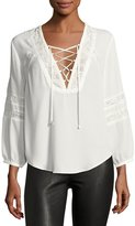Dolce Vita Ellis Lace-Inset Georgette Top, White