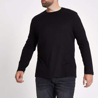 River Island Mens Big and Tall Black rib long sleeve T-shirt