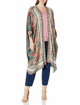 Angie Women's Plus Size Printed Kimono Duster Long Cardigan