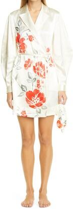 Ganni Long Sleeve Heavy Satin Short Robe Dress