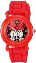 Disney Girl's 'Minnie Mouse' Quartz Plastic and Silicone Casual Watch, Color:Red (Model: WDS000009)