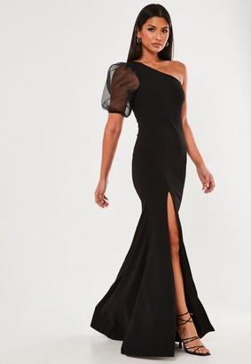 Missguided Black Organza One Shoulder Maxi Dress