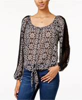 American Rag Printed Tie-Front Blouse, Only at Macy's