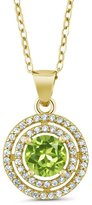 Gem Stone King 1.49 Ct Round Green Peridot 18K Yellow Gold Plated Silver Pendant