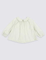 Marie Chantal Marie-chantal Pure Cotton Woven Frill Collar Top