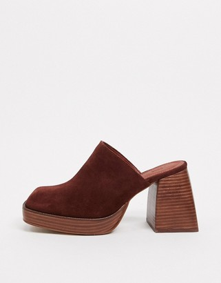 Asos DESIGN Paloma premium suede heeled mules in tan