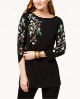 JM Collection Boat-Neck Floral-Embroidered Top, Created for Macy's