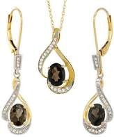 Gabriella Gold 14K Yellow Gold Natural Smoky Topaz Lever Back Earrings & Pendant Set Diamond Accent