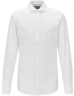 BOSS Slim-fit shirt in performance-stretch micro-dobby fabric