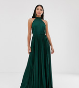 Asos Tall DESIGN Tall Halter Pleated Waisted Maxi Dress