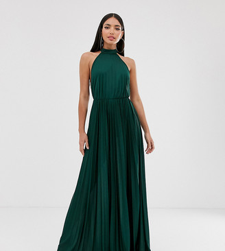 Asos Tall DESIGN Tall Halter Pleated Waisted Maxi Dress-Green