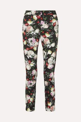 Erdem Sidney Floral-print Cotton-blend Slim-leg Pants - Black