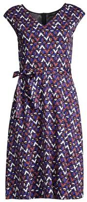 Max Mara Thomas Geometric Tie Flare Dress
