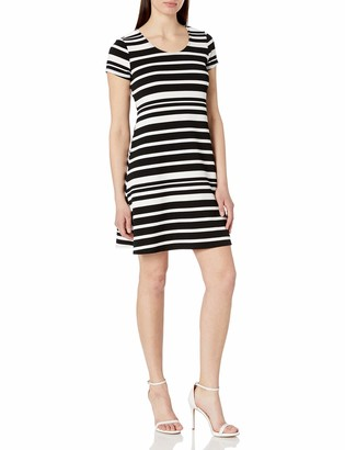 MSK Women's Knit Short Sleeve Horizontal Striped T-Shirt Dress