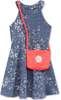 Pink & Violet U-Neck Floral Denim Dress & Purse, Toddler & Little Girls (2T-6X)