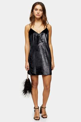 Topshop Womens Petite Black Glitter Velvet Slip Dress - Black