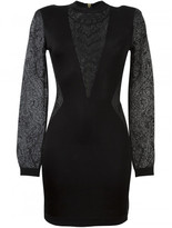 Balmain plunging lace panels dress