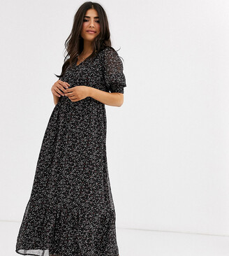 Y.A.S Petite maxi dress with v neck and puff sleeves in black ditsy floral