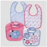 Gerber Baby Girls' 4pk Terry Bib Set Butterfly ;
