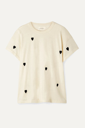 The Great The Boxy Crew Embroidered Cotton-jersey T-shirt - Off-white