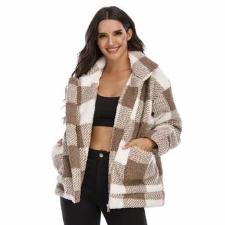 Milky Way Women Winter Coat Warm Classic Plaid Lapel Fleece Fuzzy Faux Shearling Zipper Coats Casual Outwear Jackets (Camel S)