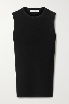 Tibi Giselle Open-back Ribbed-knit Tank - Black