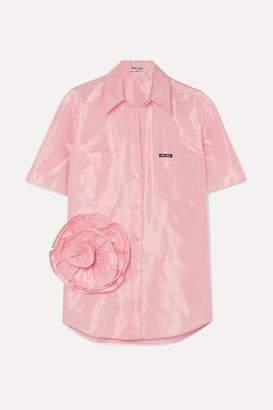 Miu Miu Oversized Appliquéd Silk-taffeta Shirt - Pink