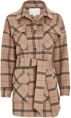 Notes Du Nord Renee Belted Plaid Shirt Jacket