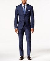 Perry Ellis Portfolio Men's Extra Slim-Fit Blue Windowpane Suit