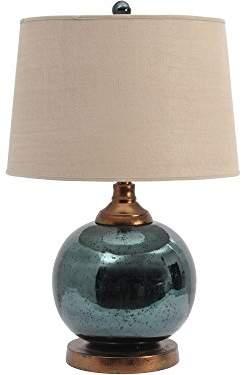 Hurley Artisanti Teal Mercury Glass Sphere Lamp with Bleach Linen Shade