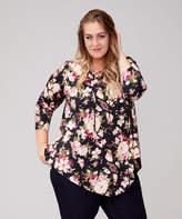 Urban Rose Women's Blouses Black/Mauve - Black & Mauve Floral Pointed-Hem Lace-Up V-Neck Top - Plus