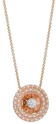 Plevé Aura 14K Rose Gold & Diamond Round Pendant Necklace