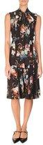 Erdem Floral-Print Sleeveless Tie-Neck Silk Midi Dress, Black