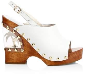 Sophia Webster Studded Leather Clog Wedge Sandals