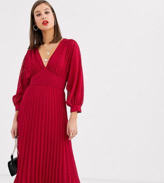 Asos Tall DESIGN Tall pleated batwing midi dress in chevron dobby-Red