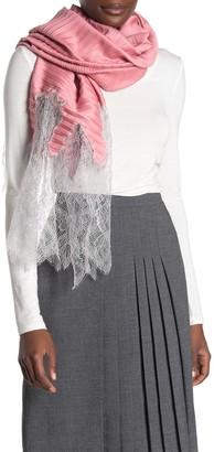 Valentino Wool Blend Plisse Lace Shawl