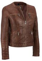 Black Rivet Womens Leather Quilted Shoulder Scuba Jacket XS Brown
