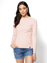 New York & Co. Lace-Up Crewneck Sweater