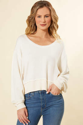 Z Supply Premium Fleece Deep V-Neck Pullover Oatmeal XS