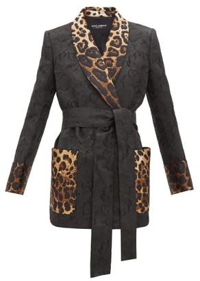 Dolce & Gabbana Leopard-trim Floral-jacquard Jacket - Womens - Black