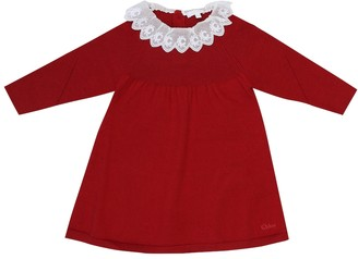 Chloé Kids Baby cotton and wool knit dress