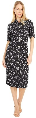 Kate Spade Dandelion Floral Shirtdress (Black) Women's Dress