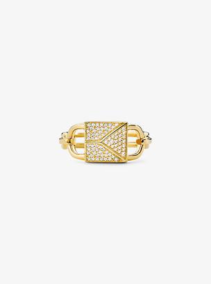 Michael Kors 14K Gold-Plated Sterling Silver Pave Oversized Mercer Lock Cocktail Ring